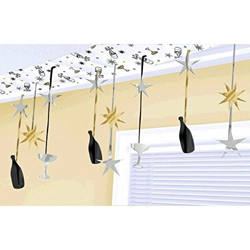 Champagne Dreams New Year's Party Ceiling Decorations - Black, Silver, Gold - 10 Feet