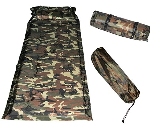 US Military Camouflage Extensible Self Inflating Sleeping Pad Camping Mattress with Pillow !