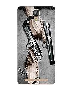 Make My Print Gun Printed Grey Soft Silicon Back Cover For Gionee Marathon M5 Plus