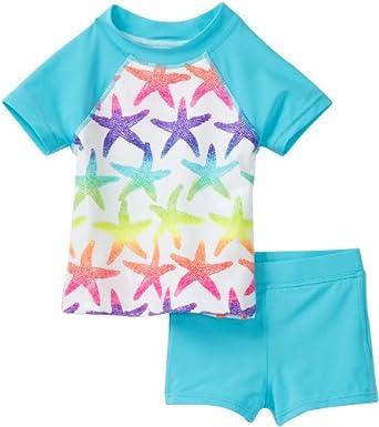Flapdoodles Toddler Girls Rainbow Starfish Rashguard 2 Piece Set