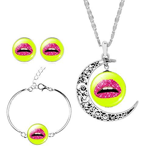 donne-ragazze-labbro-rosso-giallo-gioiello-collana-orecchini-bracciali-bangle-regolabile