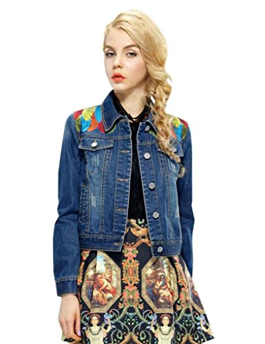 Elf Sack Womens Autumn Jean Jacket Leather Embroidery Medium Size Blue