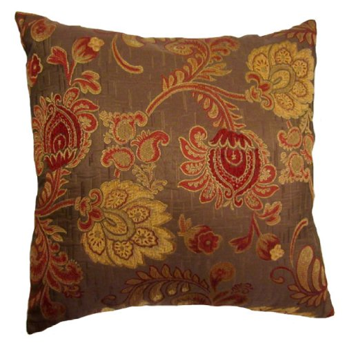 22X22 Burgundy And Gold Floral Brocade Decorative Throw Pillow Covers - DeclanTylerLRQs
