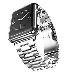 Apple Watch Band, Biaoge Stainless Steel Wristband Brushed Polished for Apple Watch 38mm (3 Link Silver 38mm)
