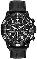 Citizen Watch Perpetual Calendar Men's Quartz Watch with Black Dial Chronograph Display and Black Leather Strap BL5259-08E