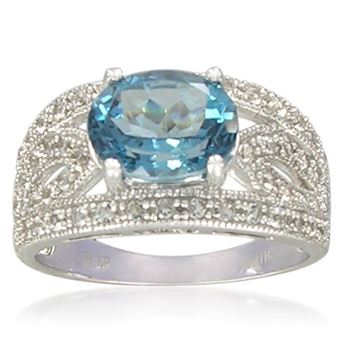 Sterling Silver 7x9mm Oval Shape London Blue Topaz with White Topaz Accents Ring, Size 7