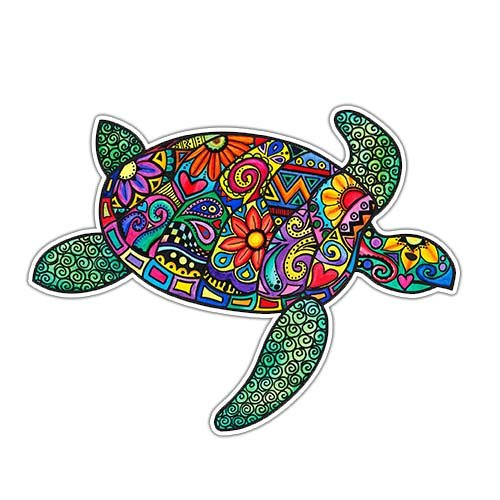 MeganJDesigns Sea Turtle Car Decal Colorful Design Hippie Vinyl Bumper Sticker (Turtle Car Decal compare prices)