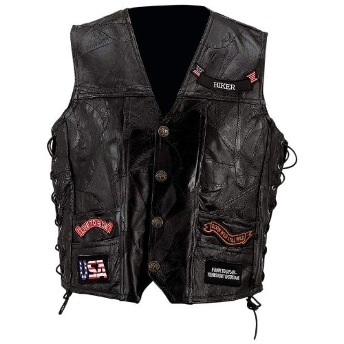 Exclusive Vests Incomparable Motorcycle Leather Vest W/ 14 Patches-Xl Standout