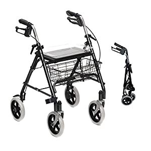 Folding Lightweight Rollator wheeled walking frame with brakes, seat and tray and stick holder