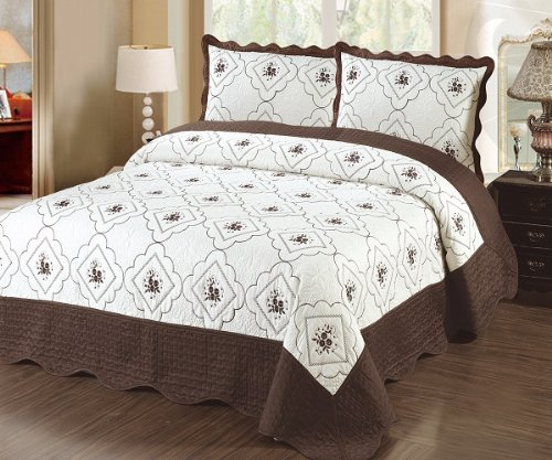 Cheapest Prices! Fancy Linen 3pc Bedspread Quilted High Quality Bed Cover Queen/king (brown)