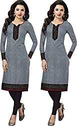 SDM Women's Kurti Printed Cotton Dress Material Unstitched Combo of 2 (P110-110, Unstitched)