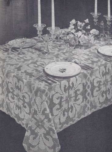 Vintage Crochet PATTERN to make - Shadow Filet Orchid Tablecloth. NOT a finished item. This is a pattern and/or instructions to make the item only.