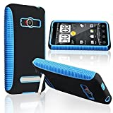 HTC EVO 4G Case, iSee Case (TM) Dual Layer TPU PC Gel Protective Anti-Slip Grip Cover Case for Sprint HTC EVO 4G (EVO-Grip Blue)