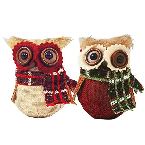 Set of 2 Owl With Plaid Scarf Hanging Christmas Tree Ornaments