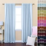 """Best Home Fashion Thermal Insulated Blackout Curtains - Back Tab/ Rod Pocket - Sky Blue - 52""""W x 84""""L - (Set of 2 Panels)"""