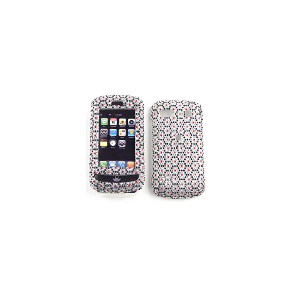 LG Xenon GR500 Full Diamond Crystal, Black Hexagons on White Hard Case/Cover/Faceplate/Snap On/Housing/Protector