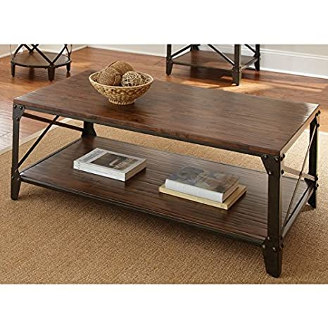 This Iron and Birch Wood Coffee Table Is an Elegant Farmhouse Style That Adds Warmth to Any Living Room or Sitting Area.