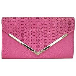 BMC Womens Fuchsia Pink PU Leather Alligator Skin Pattern Perforated Glitter Metal Accent Envelope Flap Clutch Handbag