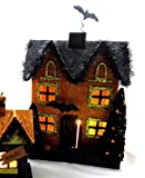 Lighted Halloween Decoration - Lighted Halloween Haunted House with Bats - Bat House