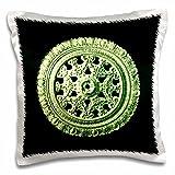 Jaclinart Bows Scrolls Shells Floral Vintage Antique - Celery green ornate vintage architectural element on black background - 16x16 inch Pillow Case (pc_31795_1)