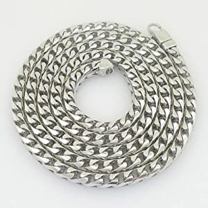 """Gold-Chains Mens 10K white gold franco cuban miami figaro bullet rope fancy chain gc124 Length - 36"""" Width - 6mm"""
