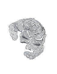 VIKI LYNN Silver-Plated Flower Bracelet Unique Design Gift For Women Girlfriend Young girls Teenagers