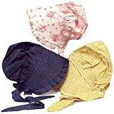 Child's Prairie Style Bonnet Medium Colors May Vary 100% Cotton Dress Up Hat