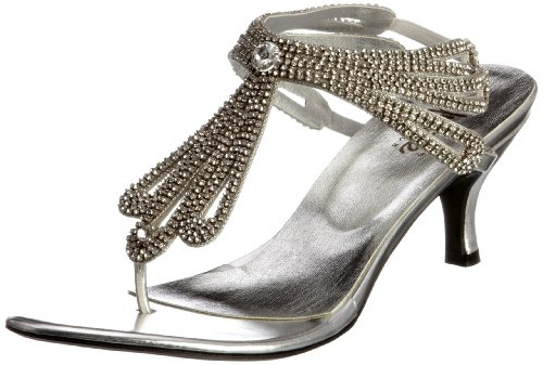 Unze Evening Sandals Womens Flip-flops L18554W Silver 3 UK
