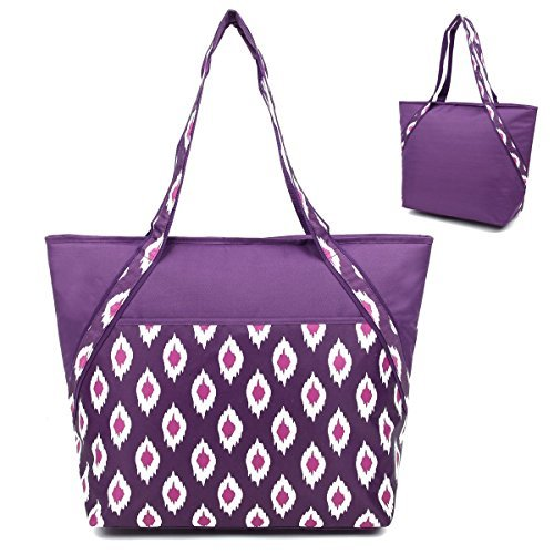super-sachi-hot-cold-50-can-insulated-cooler-picnic-lunch-tote-bag-plum-ikat-by-sachi