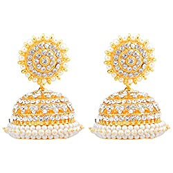 Khushi Purchase Gold-Plated Jhumki For Women (White )