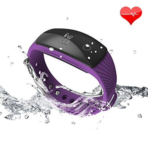 RIVERSONG Fitness Tracker Updated Version Waterproof Heart Rate Tracking Smart Bracelet Pedometer Activity Monitors Sleep Calorie Tracking Wristband Great Present (Purple)