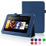 Kindle Fire HD 7 (2012 Version) Case - ACcase Amazon Kindle Fire HD7 (2012 Previous Model) Case - PU Leather Cover Case for Kindle Fire HD 7(2012 Version) with Auto Sleep Wake Function) - Stand Case - Dark Blue