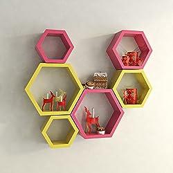 USHA Furniture Hexagon Shape Wall Shelf Set of 6 (Pink & Yellow)