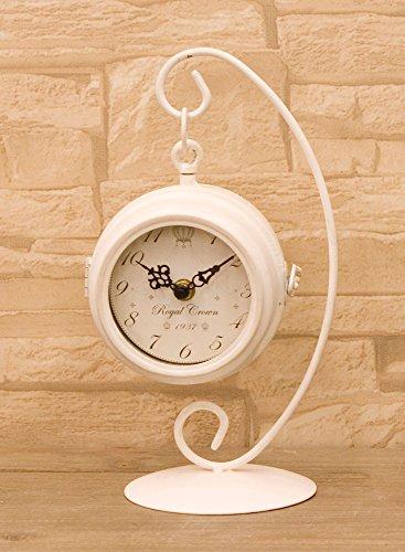置き時計 可愛らしいデザインの 人気商品 ノーブルアイアン ハンギングクロック ホワイト