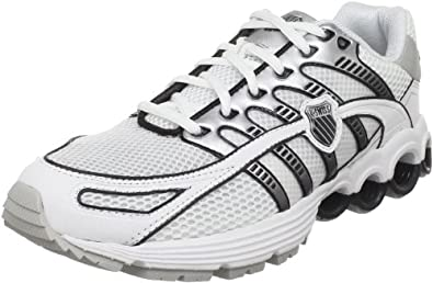 K-Swiss Men's Super Tubes Run 50 Running Shoe, White/Black/Silver, 7.5 M US