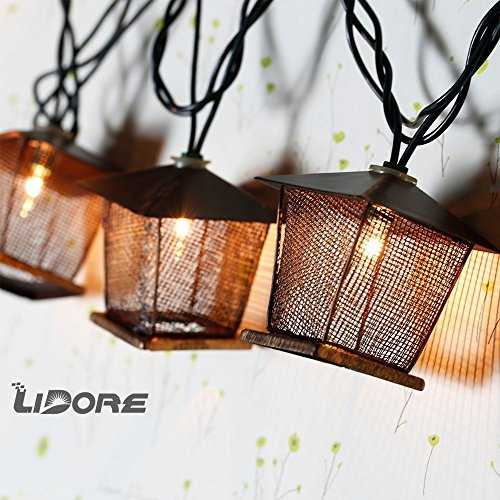 LIDORE 10 Counts Vintage Bronze Iron Nets Lanterns Plug-in String Lights. Great For Indoor/Outdoor Decoration. Best Ambience Decorative Lights. Warm White Glow. 0