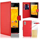 32nd® Book wallet PU leather case cover for Google LG Nexus 4 (E960) + screen protector, cleaning cloth and touch stylus - Red