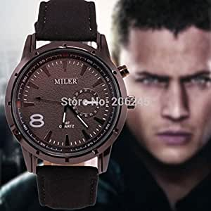 Leather Band Watch Military Wristwatch Relogio Male: Sports & Outdoors