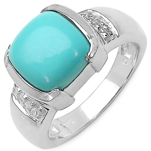 2.64CTW Turquoise & White Sapphire .925 Sterling Silver Ring (multicolor)