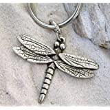 DRAGONFLY Pewter KEYCHAIN Key Ring CHAIN (Color: Silver)