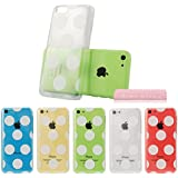 MINI KITTY-Transparent Hard Clear Back Cover White Polka Dot Pattern Snap on Case for iPhone 5C