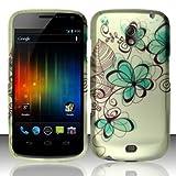 Samsung Galaxy Nexus Prime i515 Accessory - Green Flower Sketch Design Protective Hard Case Cover for Sprint/Verizon/Telus