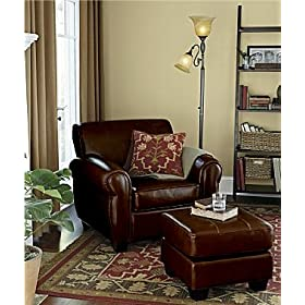2 PCS Bi-cast Leather Chair and Ottoman Set