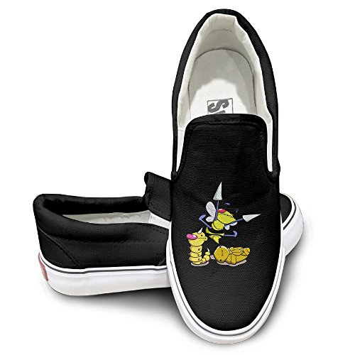 [EWIED Unisex Classic Cute Poke Derp Slip-On Shoes Black Size41] (Fairy Wing Tattoos)