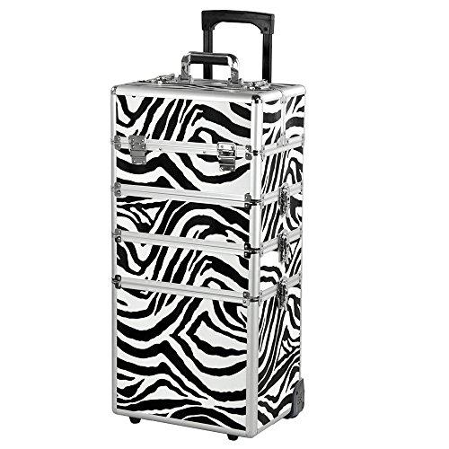 4 in 1 Aluminium Hairdressing Salon Makeup Beauty Box Nail Carry Case Cosmetics Trolley Set (Zebra)