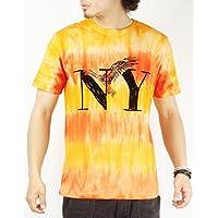 (バレッタ) Valletta 3color NYプリントタイダイボーダー柄クルーネックTシャツ