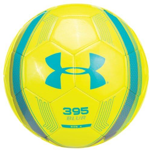 Under Armour 395 Blur Soccer Ball, Size 4, Hi Viz Yellow/Electric Blue