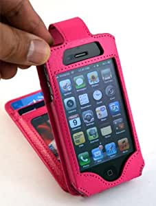 iPhone 4/4S Flip Premium PU Synthetic Leather Wallet Case - Navor (Hot Pink)
