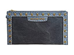 Michael Kors Selma Pick Stitch Large Zip Clutch in Denim Canvas