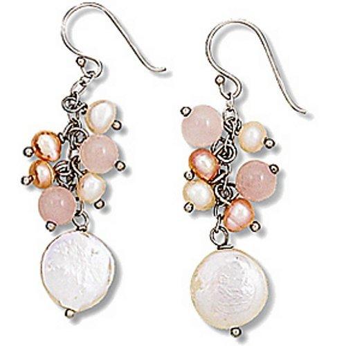 .925 Sterling Silver Rose Quartz Freshwater Pearl Dangle Earrings